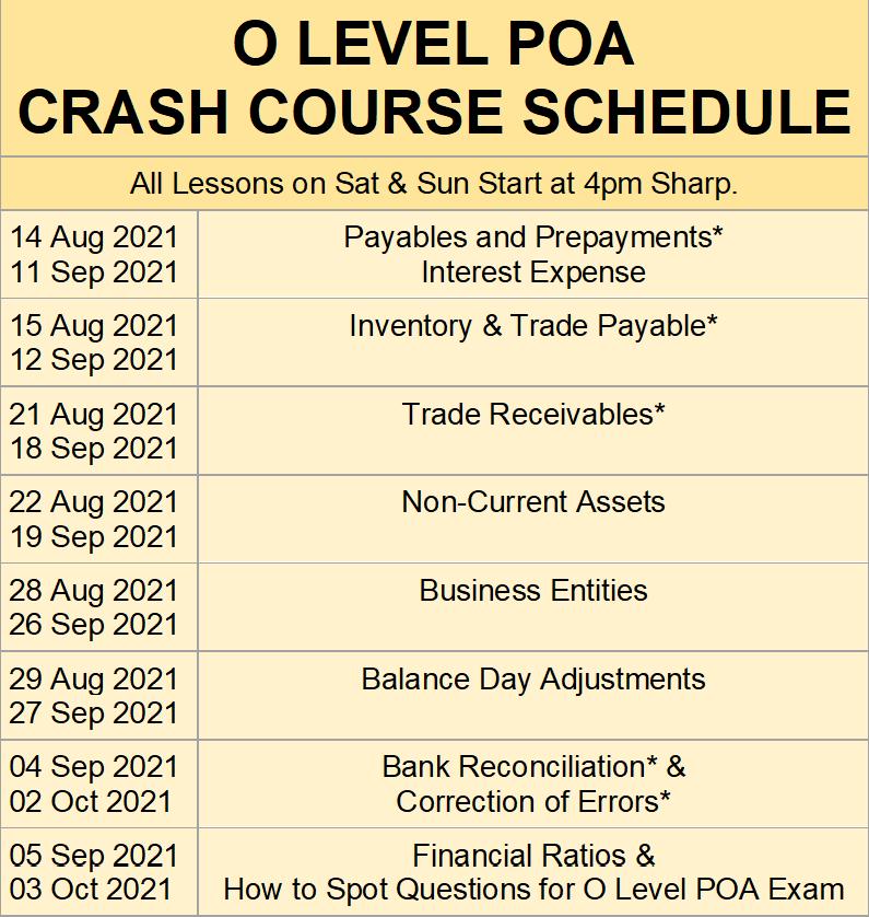 O Level POA Crash Course Schedule